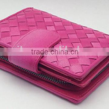 Imported TOP Grain Cow Leather RFID Blocking Hand Weave Women Wallet/lady purse                                                                         Quality Choice