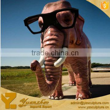 Christmas outdoor fiberglass life size elephant wear glasses statue for decoration