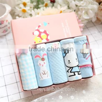 2017 new sky Blue gift box cartoon cotton underwear Cute Yong Girls Panties Briefs