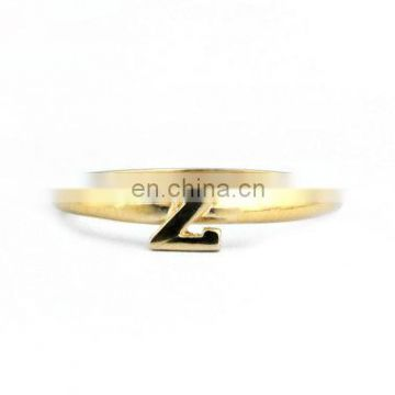 Simple design wholesale gold plated name initial alphabet finger ring z