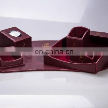 Alibaba Express Complete Handmade Leather Wooden Office Desk Set