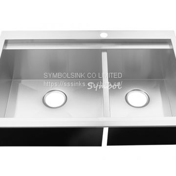 60/40 Double Bowl Top Mount Stainless Steel Sink