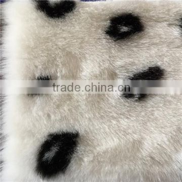 high quality white and black polyester/ acrylic blend faux fur fabric