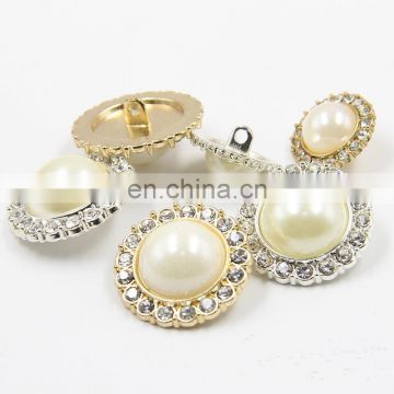 2017 Hot Sale 18mm Round White Pearl Rhinestone Button for Wedding Decoration and Apparel