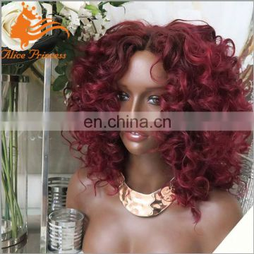 100% Virgin Indian Human Hair Spring Curly Lace Front Wig Red Color #99j Full Lace Bob Wig For Black Woman