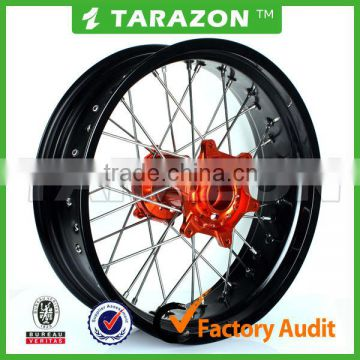Motorcycle 17 Inch Cnc Aluminum Supermoto Spoke Wheels For