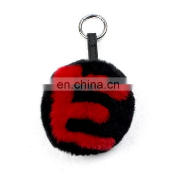 Custom logo 26 letters fur pom ball fur keychain