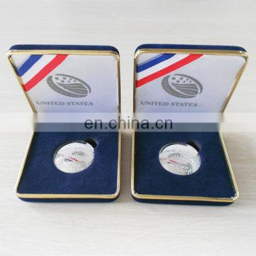 Souvenir gifts metal Nutrition challenge coin with black velvet gift box