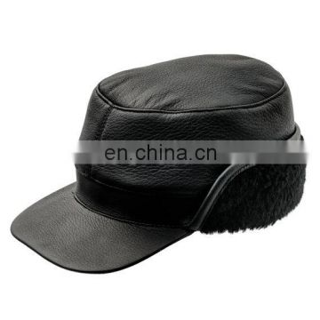 Winter Leather Cap with Earflap Military Cadet Army Flat Top Hat