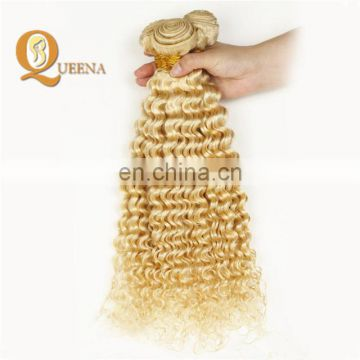 Factory Wholesale 613 Bundles and Frontal Weaving Hair Curly Sew in Human Hair Extensions Blonde