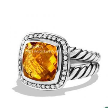 Sterling Silver Jewelry 11mm Citrine Albion Ring(R-063)