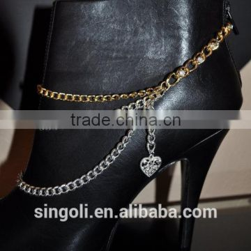 Shoe Decorations Wholesale fashion gold and silver chain with heart charms shoe jewelry