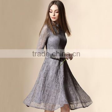 2016 best quality solid color one piece dress pattern with crocheted Lace