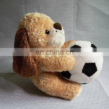 cute plush dog playing football toy gift for kids