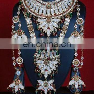 MULTI COLORS BRIDAL RHINE-STONE JEWELRY-WHOLESALE BOLLYWOOD BRIDAL JEWELLERY-WEDDING WEAR BRIDAL JEWELRY