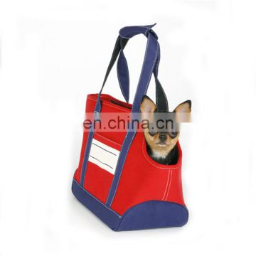 shoulder bag with denim fabric cat bag side open