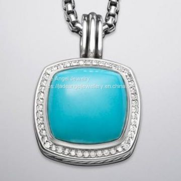 Sterling Silver 925 17mm Turquoise Albion Pendant Enhancer
