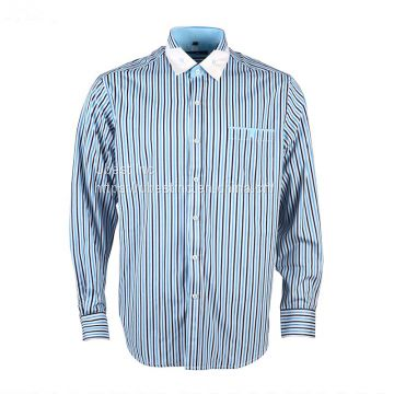 China Supplier Blue Stripes Long Sleeve Business Mens Dress Shirts