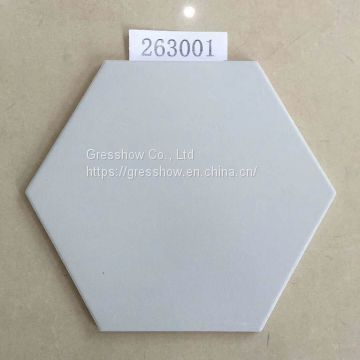 260x300mm Matte Slivery Gray Hex Tile