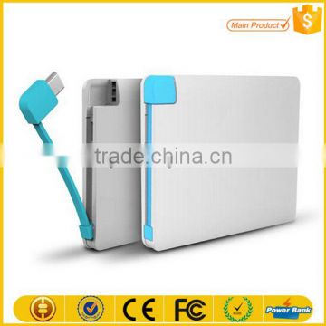 Mobile phone accessory Ultra thin High quality polymer battery power bank 2600 portable Credit card power bank charger