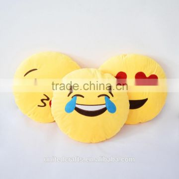 Soft Emoji Emoticon Yellow Round Cushion Pillow Toy Cute Face Pillow Cushion