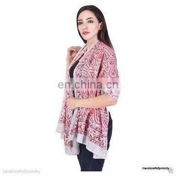 2 Piece Cotton Hand Block Print Large Sarong Beach Pareo Wrap Swimwear Dupatta