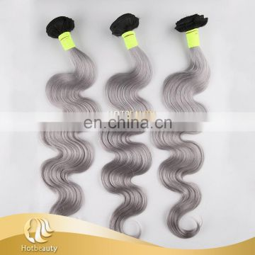 Factoty price wet and wavy grey hair wefts body wave