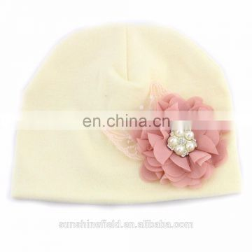 2016 Trendy Newborn Cute Hat Girl Boy Infant Hat Baby Beanies with Elegant Pearl Chifffon Flower On It