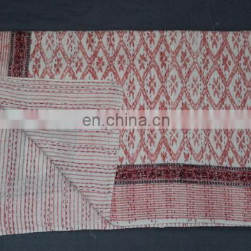 Hand Block Print 100% cotton kantha quilts Mugal Design Reversible Blanket throw