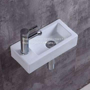 China Bathroom Ceramic Wall Mounted One Hole Small Size Hand White Corner Wash Basin Sink