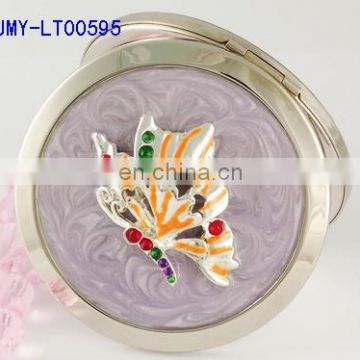 HOT silver maked up compact mirror with flower decoration