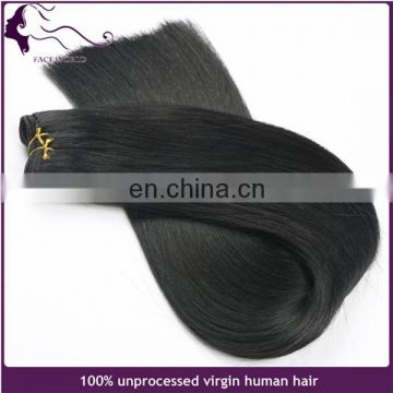 Machine made double drawn jet black 100 chinese remy hair extension
