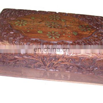 "WOODEN BOX BRASS INLAY DESIGN (8""X 5""X 2.5"" )"