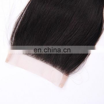 Cheap 7A Remy Indian human hair free part closure free part/middle part/three way part silk base swiss lace closure
