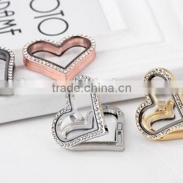 Glass Locket pendants, wholesale heart floating locket,photo frame pendant necklace