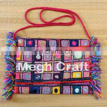 Indian Mirror Work Friang ClUTCH- BOHO HIPPEI pom pom clutch- Bohemian Pom Pom Clutch