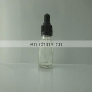 20ml Clear Glass essential oil Bottles with black plastic dropper