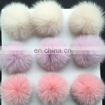 Custom solid color fox fur pom pom bobble for hat/shoes fashion