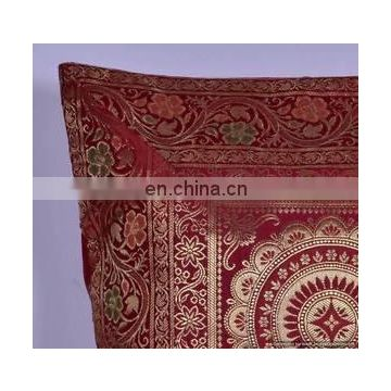 Indian Decorative Mandala Silk Pillow Case Throw Ethnic Vintage Indian Pillow Cover Pillow Case Throw wholesale