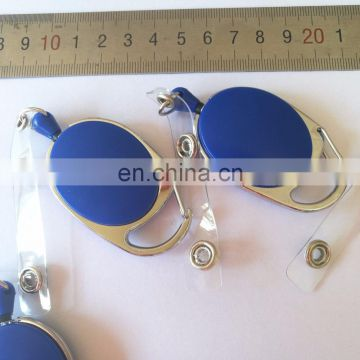 customized oval shape badge ID retractor holder with clear vinyl clip