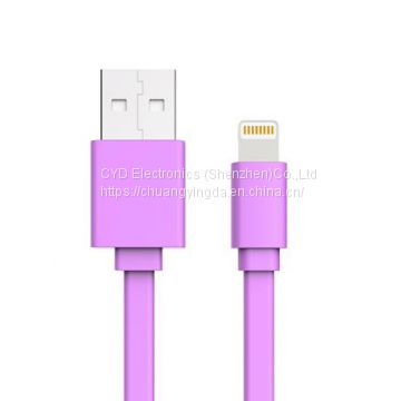 Flat USB Date Cable for iPhone 6 Plus, iPhone 5s with 1m Length, Apple Certified with MFI Mark