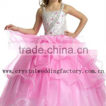 2013 new arrival beaded ruffled skirt ball gown pink flower girl pageant dresses CWFaf5265