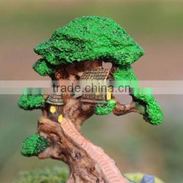 Custom resin crafts garden decor artificial miniature tree house gnome