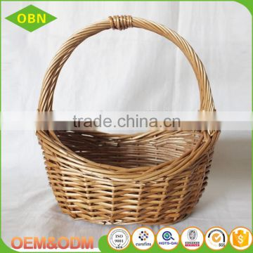 Durable wicker gift basket boat shape cane basket with handle