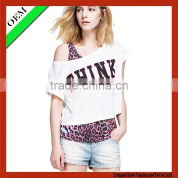 2015100% cotton t-shirt China Fashion Clothes Women sleeveless T-shirt OEM