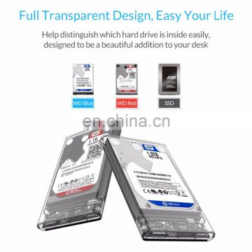 "2.5"" USB 3.0 SATA Hd Box HDD Hard Disk Drive External HDD Enclosure Transparent Case Tool Free 5 Gbps Support 2TB UASP Protocol"