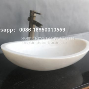 Cloudy White  Marble Bathroom Vessel Oval Sink Natural Stone Wash Basin