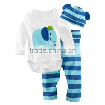 wholesale 100% cotton green striped baby rompers quality cartoon newborn clothes sets with hat and pants baby sleep & play cloth                                                                                                         Supplier's Cho