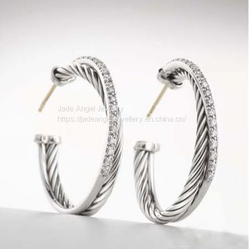 Sterling 925 Silver Inspired David Yurman Pave Diamond Graphite Ice Hoop Earrings