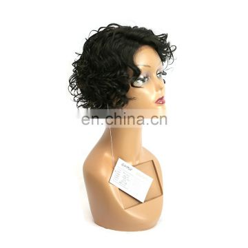 short curly wig human hair lace front wig